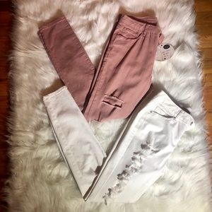 🌼NWT Skinny Jeans 2 FOR 1 Ripped Pink /White